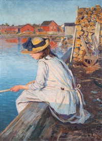 girl fishing by wilhelm smith