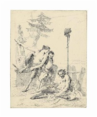 the happy satyr and his family, from: scherzi di fantasia by giovanni battista tiepolo