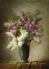 a still life of lilacs in a vase on a table by martial hupe