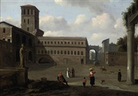 a medieval town square with figures beside roman ruins by jan cornelisz holblock