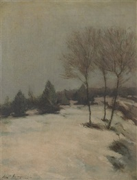 snow scene, evening by elliot daingerfield