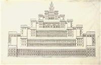 an elevation of a fantastic palace of six stepped tiers culminating in a pedimented loggia by jacques androuet de cerceau