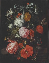 a garland of roses, poppies, a tulip, morning glories, honeysuckle, columbine... by david cornelisz heem iii