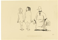 untitled illustration of a vicar gazing at a naked couple by john lennon