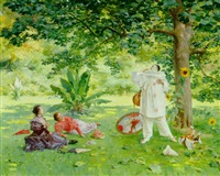 pierrot entertaining in the garden by louis adolphe tessier