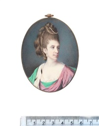julia cox of the shergold family, wearing green and mauve robe over white dress, green mantle with ermine trim, pearl pendent earring by samuel cotes