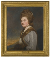 portrait of catherine ponsonby, duchess of st. albans (1742 - 1789), daughter of william, earl of bessborough, half length wearing a fur lined grey silk coat by george romney