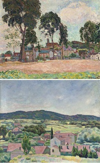 a village in the south of france (+ another similar, smaller; 2 works) by walter bondy