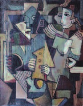 composition cubiste : personnages by emil filla