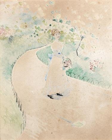 femme au panier dans un jardin by jean louis forain