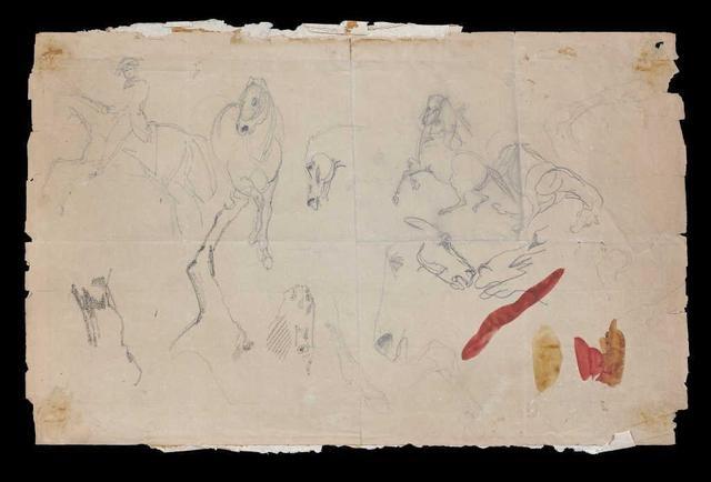 etudes de chevaux recto verso study by eugène delacroix