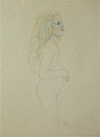 young girl (study) by graham ovenden