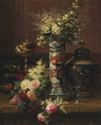 roses, peonies and forget-me-nots in a japanese vase by jean-baptiste robie