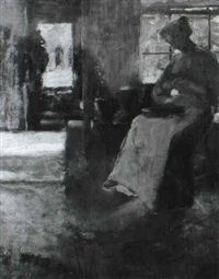 interior with seated woman by florence carlyle