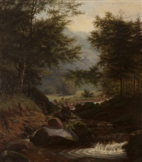 deer in a forest landscape by hermann herzog