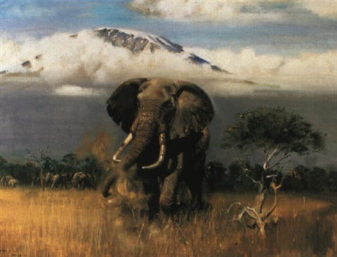 the old tusker before mount kilimanjaro by terence cuneo