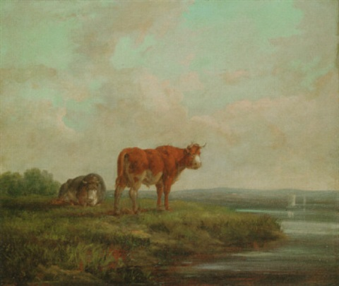 cattle in a river landscape by henry milbourne