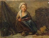 petite paysanne assise tenant son écuelle by marc antoine bilcoq