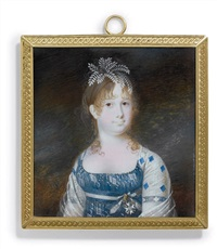 infanta maria isabella of spain in white-embroidered blue dress by nicolas-françois dun