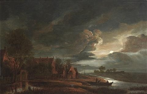 a moonlit river landscape with figures in a boat and village buildings along the bank by anthonie van borssom