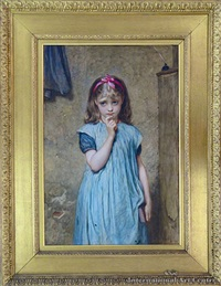 girl with pink ribbon by charles sillem lidderdale