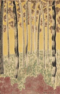 trees on linen by march avery