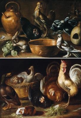 stillleben mit hähnen und anderen tieren another pair by giovanni agostino abate cassana