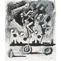 untitled (man on unicycle) by mark kostabi