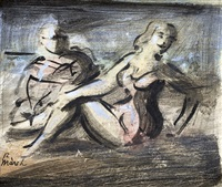 seated bathers by reginald marsh