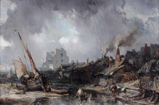 personnages et barque échoués sur un littoral by louis gabriel eugène isabey