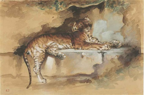 a tiger resting on a ledge by rosa bonheur