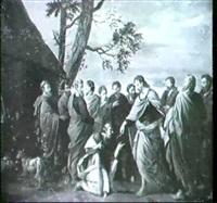 christ handing the keys of paradise to saint peter by engelbert fisen