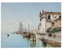 a venetian canal with views of santa maria della visitatione and santa maria del rosario by federico del campo