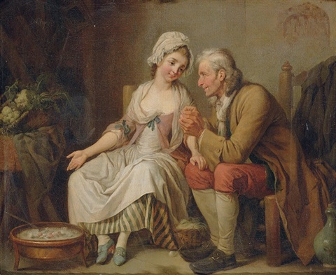 an old man threading a needle for a young seamstress before a brazier of coals by pierre alexandre wille