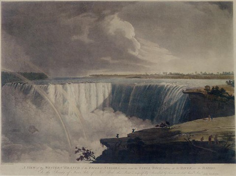 a view of the western branch of the falls of niagara taken from the table rock by john vanderlyn