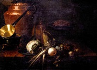 a copper pot, saucepan, bottle, cabbage, parsnips, marrow, apples, grapes, and a dish of strawberries on a table by e.r. lautter