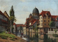 the jewish synagogue in nürnberg, seen from the island schütt by august fischer