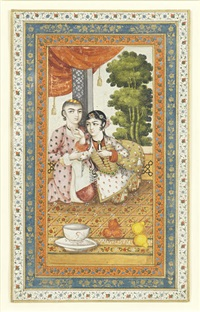 a youth and maiden seated on a terrace by anonymous-persian (19)