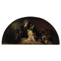 marie madeleine au pied de la croix (study) by françois bouchot