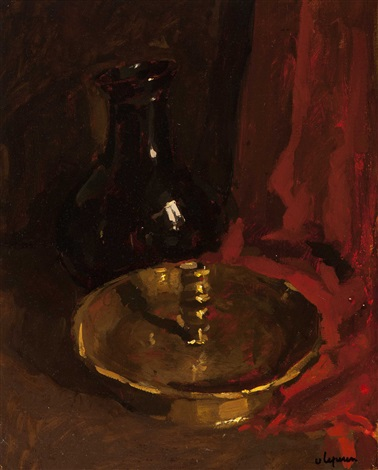 still life with candlestick and vase by johan hendrik van ieperen