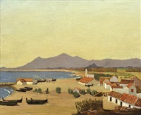boats, beach, village by norman lloyd