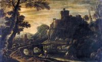 a rocky river landscape with fishermen and other figures by a bridge, a castle and village beyond by jan de momper