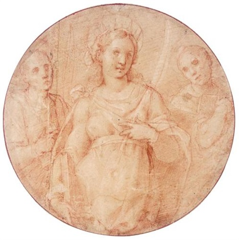 a female martyr saint with two deacons behind her by fabrizio santafede