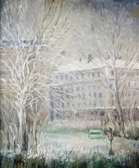 paris, la place adolphe-max et le square hecto-berlioz (9e arrondissement) sous la neige by marie madeleine de rasky