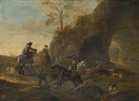 a landscape with horsemen and dogs in the foreground, a herdsman with cattle beneath a natural arch beyond by dirk stoop
