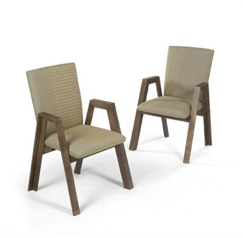 unique set of eight dining chairs by fred baier