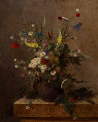 still life with wild flowers in an earthenware vase on a plinth by jean alexandre rémy couder