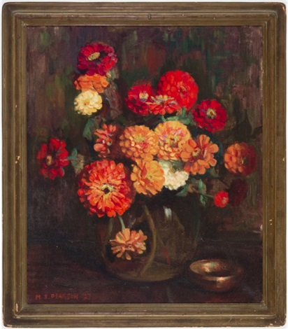 zinnias by marguerite stuber pearson