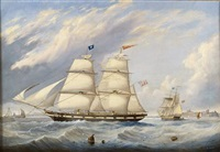 bringing elizabeth anne into position off tynemouth by john scott