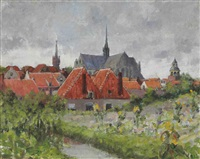 view of leiden, the netherlands by george oberteuffer